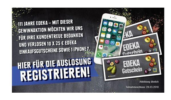 edeka gewinnspiel 111 jahre apple iphone 7 und gutscheine. Black Bedroom Furniture Sets. Home Design Ideas