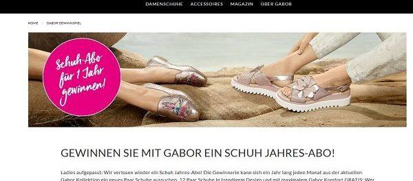 Gabor Schuh Gewinnspiel Schuh Jahres Abo 2018