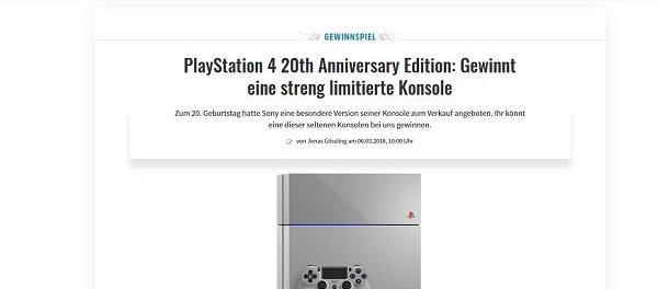 Gamez Gewinnspiel PlayStation 4 20th Anniversary Edition