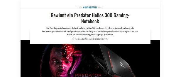Gamez Gewinnspiel Pretador Gaming Notebook 2018