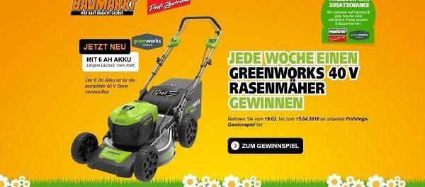 Globus Baumarkt Frühlings-Gewinnspiel Akku Rasenmäher 2018
