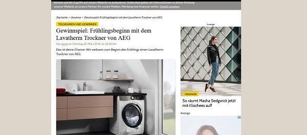 Grazia Magazin Gewinnspiel AEG Wäschetrockner
