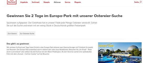 Kaufland Gewinnspiel Ostereiersuche Europa Park 2018
