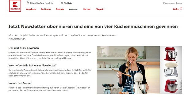kaufland gewinnspiel smeg oder kitchenaid k chenmaschinen gewinnen. Black Bedroom Furniture Sets. Home Design Ideas