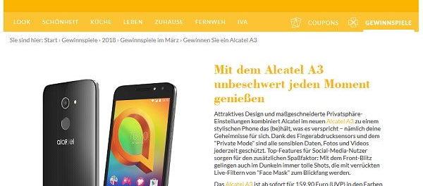 Laviva Gewinnspiel Alcatel A3 Smartphone