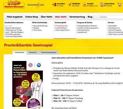 Netto Gewinnspiel Procter&Gamble Bayern Trikots