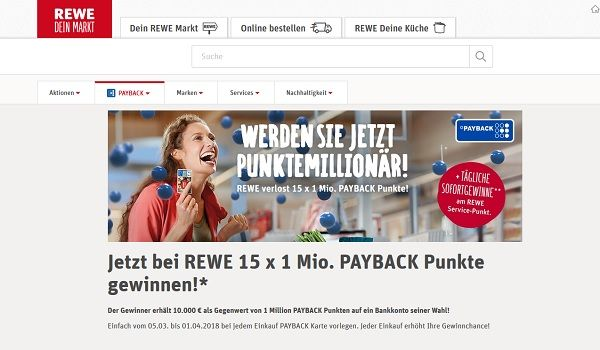 rewe gewinnspiel payback million r 2018. Black Bedroom Furniture Sets. Home Design Ideas