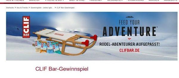 Rossmann Gewinnspiel CLIF Produktpakete und Rodel