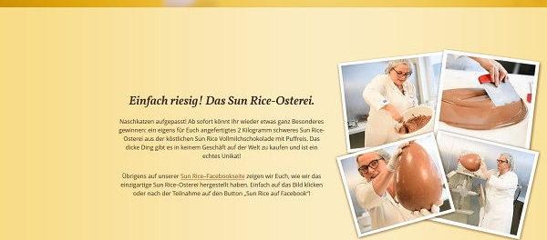Sun Rice XXL Schokoladen Osterei Gewinnspiel