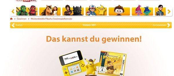 Toggo Gewinnspiel Meisterdetektiv Pikachu Nintendo 2ds Xl