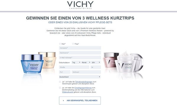 vichy gewinnspiel 3 wellness kurztrips und pflege sets. Black Bedroom Furniture Sets. Home Design Ideas