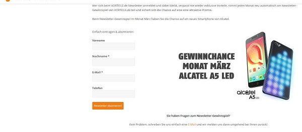 Vorteil.de Gewinnspiel Alcatel A5 LED Smartphone