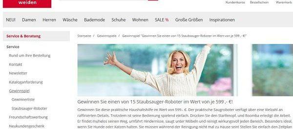 Witt Weiden Gewinnspiel Staubsaug-Roboter gewinnen