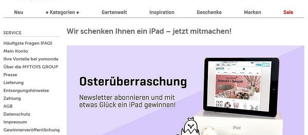 Yomonda Oster Gewinnspiel Apple iPad 2018