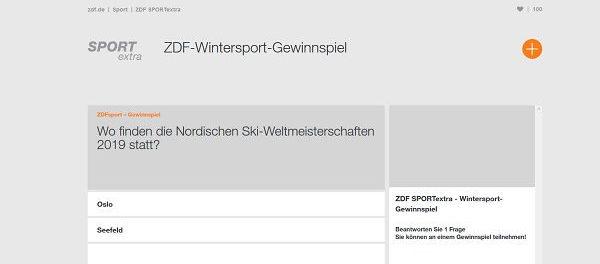 ZDF Wintersport Gewinnspiel 2018