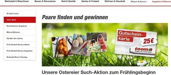 toom Baumarkt Oster-Gewinnspiel Gutscheine gewinnen