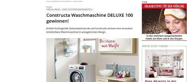 zuhause wohnen gewinnspiel constructa waschmaschine deluxe 100 gewinnen