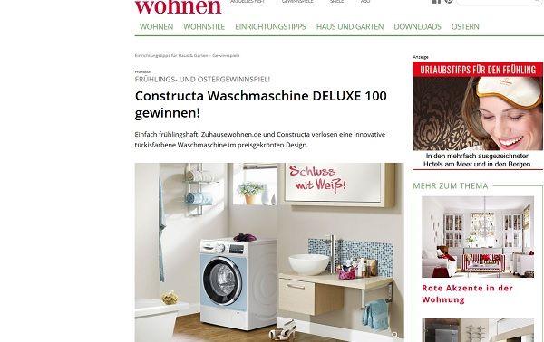 Zuhause Wohnen Gewinnspiel zuhause wohnen gewinnspiel constructa waschmaschine deluxe 100 gewinnen