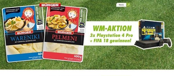 Bürger Gewinnspiel WM-Aktion Playstation 4