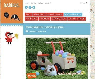 Babboe Kinder Lastenlaufrad Gewinnspiel