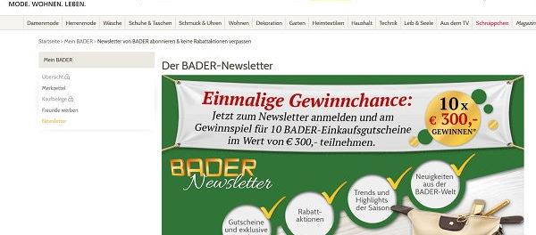 Bader Gewinnspiel 300 Euro Einkaufsgutscheine gewinnen