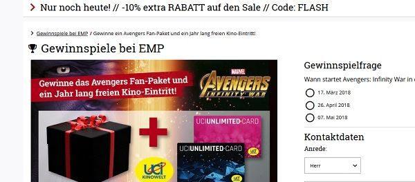 EMP Gewinnspiel Avengers Fan Paket und 1 Jahr Kino kostenlos