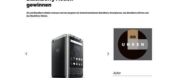 GQ MAgazin Gewinnspiel BlackBerry KEYone Smartphone