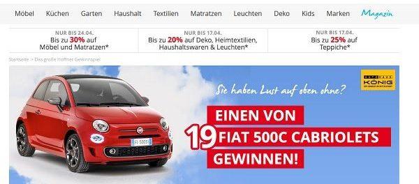 Höffner Auto Gewinnspiel Fiat 500C Cabrio