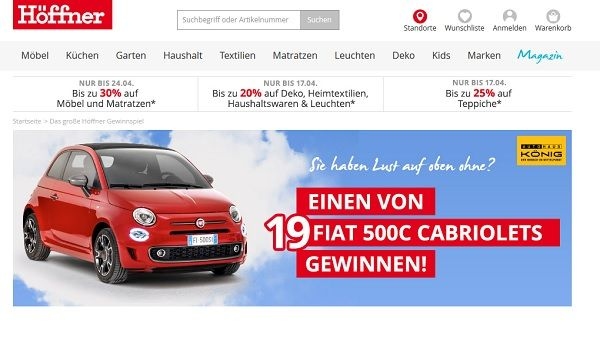 auto gewinnspiel m bel h fner 19 fiat 500c cabrios. Black Bedroom Furniture Sets. Home Design Ideas