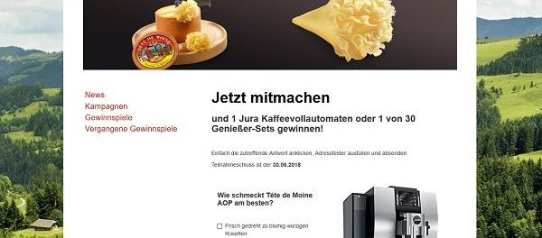 Schweizer Käse Gewinnspiel Jura Kaffeevollautomat