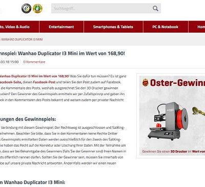 satKing Oster Gewinnspiel Duplicator 3D Drucker gewinnen