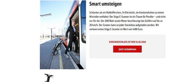 DB Mobil Gewinnspiel Stigo E-Scooter 2018