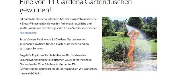 Emsan Gewinnspiel 11 Gardena Gartenduschen