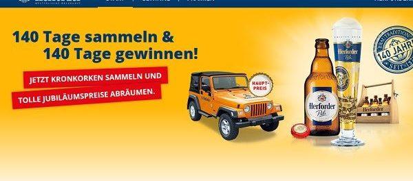 Herforder Kronkorken Gewinnspiel Jeep Wrangler gewinnen