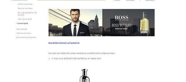 Karstadt Gewinnspiel Hugo Boss Bottled