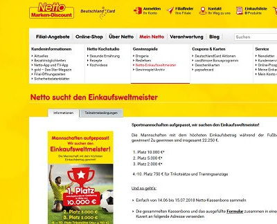 Netto Einkaufsweltmeister Gewinnspiel 10.000 Euro Bargeld