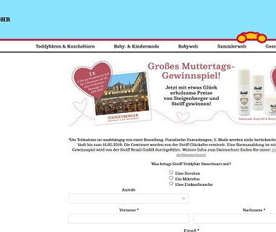 Steiff Muttertags-Gewinnspiel 2018 Steigenberger Hotelaufenthalt