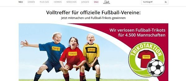 Takko Fashion Gewinnspiel Fußball-Trikots 4.500 Mannschaften