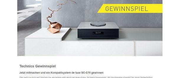 Technics Gewinnspiel Kompaktsystem de luxe SC-C70 gewinnen