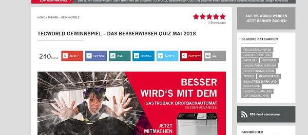 Tecworld Gewinnspiel Brotbackautomat Besserwisser Quiz