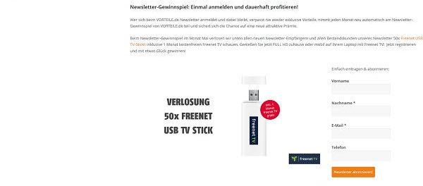 Vorteile.de Gewinnspiel 50 Freenet TV Sticks