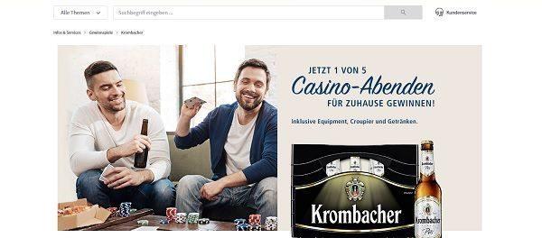 real Krombacher Gewinnspiel Casino-Abend zuhause gewinnen