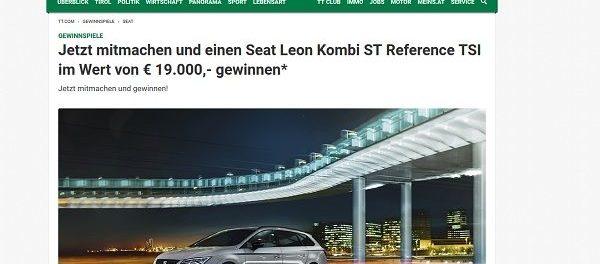 Auto Gewinnspiel Tiroler Tageszeitung Seat Leon Kombi