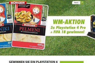 Bürger Gewinnspiel WM Verlosung 3 Playstation 4 Pro mit FIFA 18