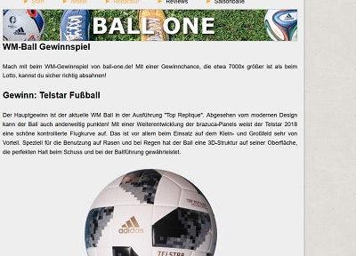 Ball One Gewinnspiel Adidas WM Ball Telstar gewinnen