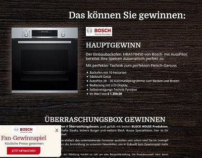 Block House Fanwochen Gewinnspiel Bosch Einbaubackofen und Überraschungspakete