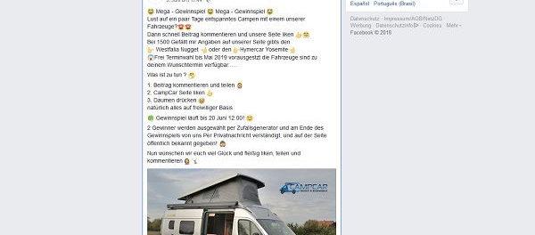 CampCar Gewinnspiel 4 Tage Wohnmobil Urlaub