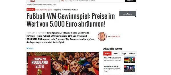 Computer Bild Gewinnspiel WM Kalender Sachpreise 5.000 Euro