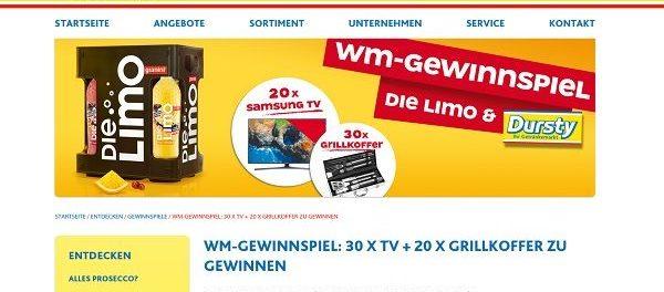 Dursty Die Limo WM Gewinnspiel 30 Fernseher und 20 Grillkoffer