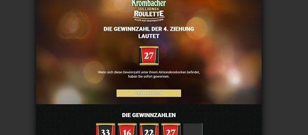 Krombacher Millionen Roulette Gewinnspiel Gewinnzahlenziehung 29.06.2018